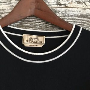 Hermès Black Tee with White trim